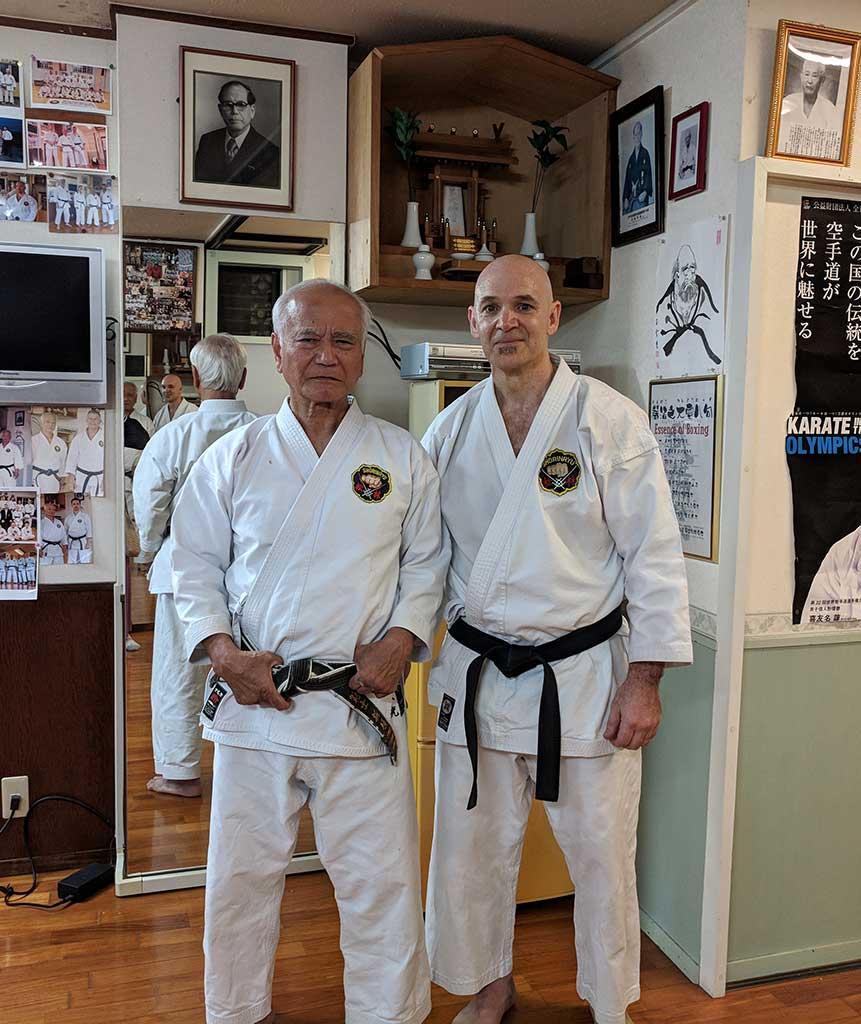 Sensei Troup with Sensei Toshimitsu Arakaki, Hanshi, 10th Dan at Kodokan Arakaki Dojo in Okinawa